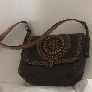Leather cross body bag from South America
